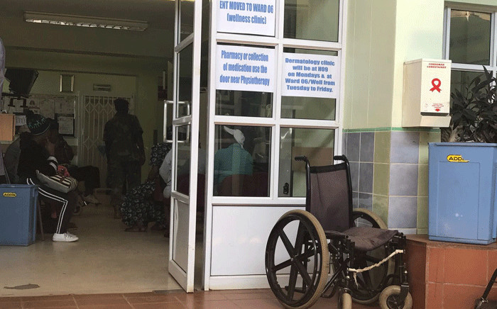 An SANDF members inside the Mahikeng Provincial Hospital where services have been affected by ongoing protests as professionals embark on a strike. Picture: Masechaba Sefularo/EWN