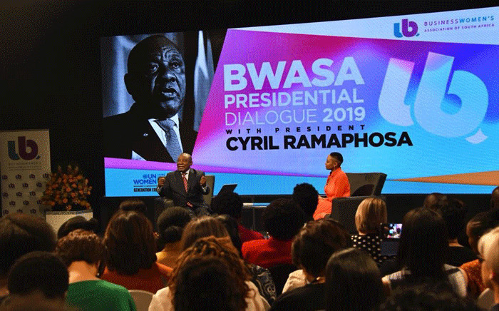 President Cyril Ramaphosa addesses a dialogue, convened under the theme 'The Economy is Woman', which is organised by the Businesswomen's Association of South Africa (BWASA) on 29 October 2019. Picture: GCIS.
