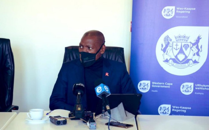 Health Minister Dr Zweli Mkhize during a press briefing on 9 May 2020 in the Western Cape. Picture: @DrZweliMkhize/Twitter.
