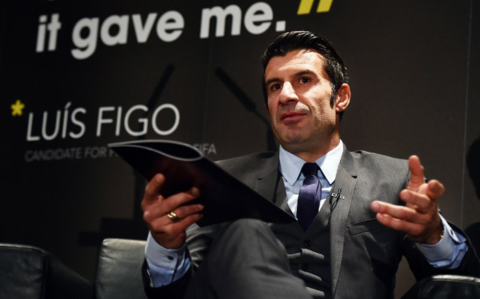 FILE: Former Portuguese football player and FIFA Presidential Candidate Luis Figo speaks during the launch of his manifesto For Football at the start of his presidential campaign on 19 February, 2015 at Wembley Stadium in London. Picture: AFP.
