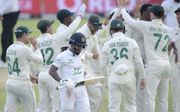 Proteas players celebrate the fall of a wicket during the first Test cricket match between South Africa and Sri Lanka at SuperSport Park in Centurion. Picture: AFP