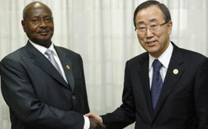 President of Uganda Yoweri Museveni meets UN Secretary-General Ban Ki-moon