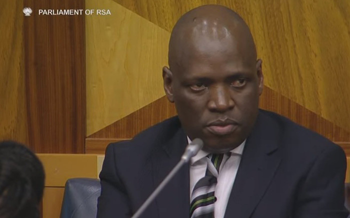 FILE: A screengrab of Hlaudi Motsoeneng as he and the SABC board appear before Parliament's Communications Portfolio Committee on 5 October, 2016.