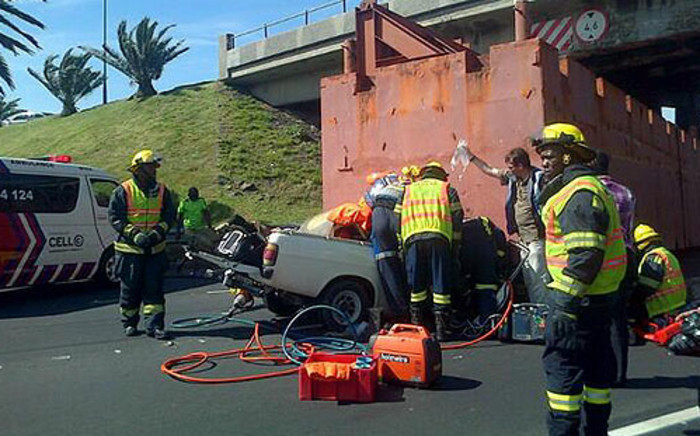 A motorist was trapped in a bakkie following an accident on the N1 highway on 15 October 2013. Picture: Zain Johnson/EWN
