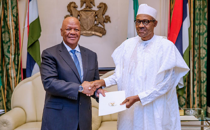 South Africa's special envoy Jeff Radebe meets Nigerian President Muhammadu Buhari on 16 September 2019. Picture: State House Abuja