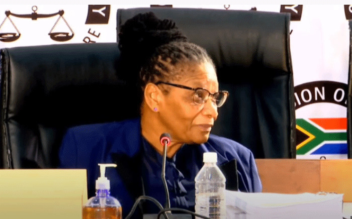 National Assembly Speaker Thandi Modise testified at the state capture commission on 19 April 2021. Picture: YouTube screengrab/SABC.