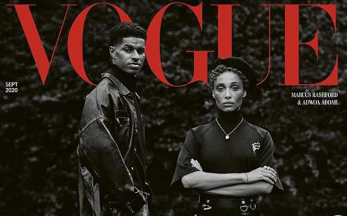 The September cover of UK Vogue features Marcus Rashford and Adwoa Aboah. Picture: Instagram/britishvogue