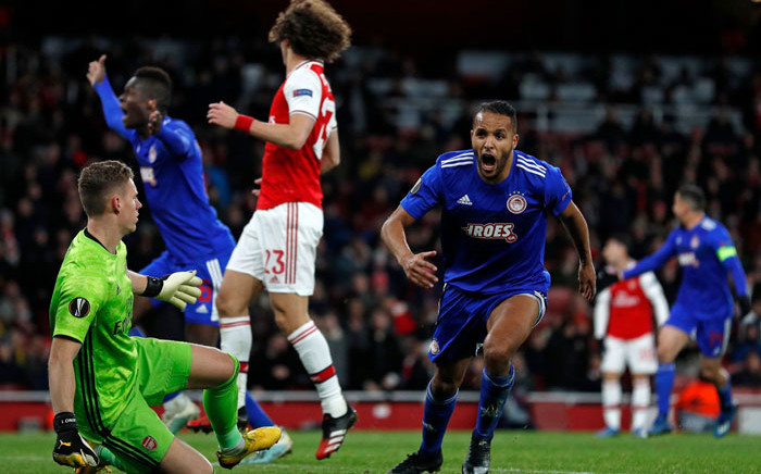 Olympiakos' Youssef El-Arabi celebrates his late goal against Arsenal in their UEFA Europa League match on 27 February 2020. Picture: @EuropaLeague/Twitter