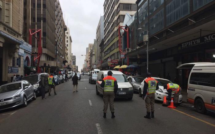 JMPD officers patrolling in the Johannesburg CBD. Picture: @AsktheChiefJMPD/Twitter
