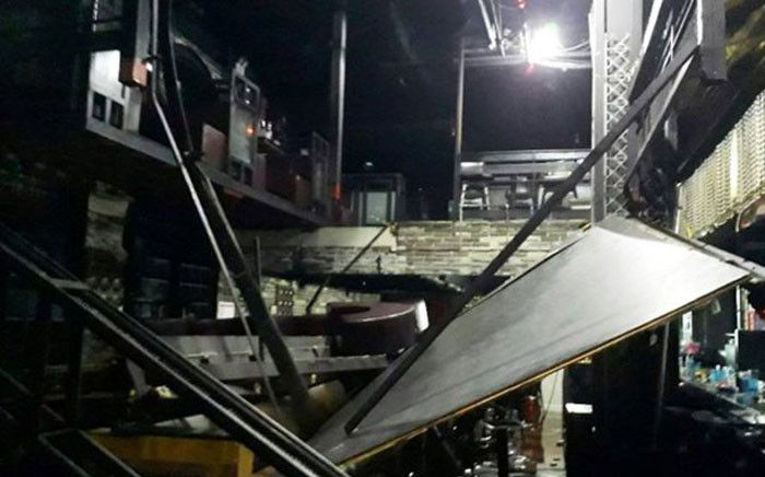 An upper floor of a nightclub collapsed on top of dancing revellers in South Korea. Picture: AFP.