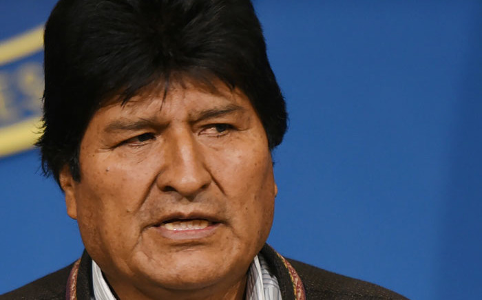Hand out picture released by the Bolivian Presidency showing former Bolivian President Evo Morales at a press conference in El Alto, on 10 November, 2019. Picture: AFP