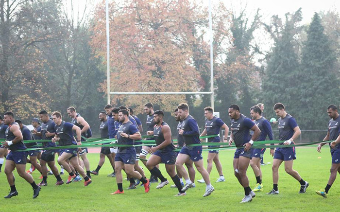Wallabies players are seen during a training session in Italy. Picture: @Wallabies/Facebook.com