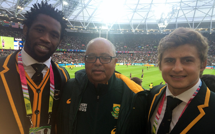 Springbok bus driver Greg Levendahl (niddle), with Siya Kolisi and Pat Lambie, said he is leaving England knowing that Heyneke Meyer and his team will do well in the rest of the tournament. Picture: SARU Corporate Affairs.