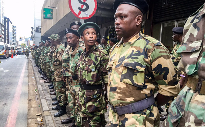 FILE: MKMVA form a barrier around the ANC headquarters. Picture: Clement Manyathela/EWN.