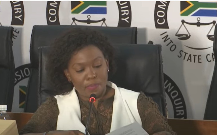 A screengrab of former Denel procurement executive Celia Malahlela appearing at the state capture inquiry in Johannesburg on 27 October 2020. Picture: SABC/YouTube