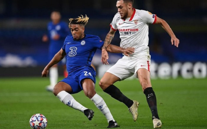 Chelsea's English defender Reece James (L) during the UEFA Champions League first round Group E football match between Chelsea and Sevilla at Stamford Bridge in London on 20 October 2020. Picture: @ChelseaFC/Twitter