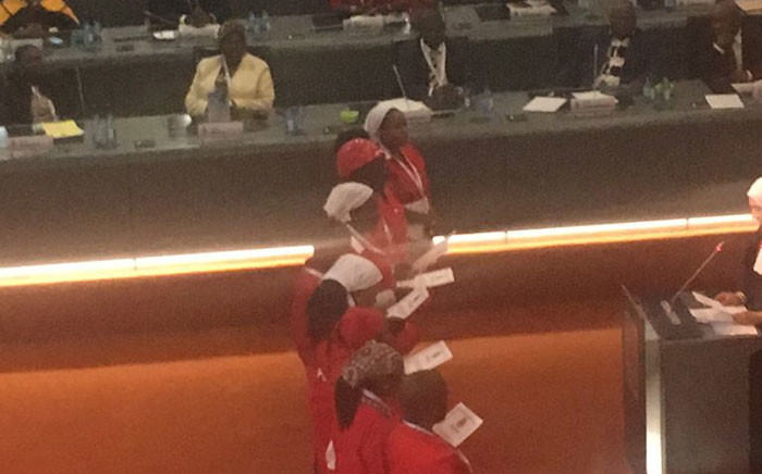 EFF councillors taking their oath of office in Ekurhuleni. Picture: Clement Manyathela/EWN.