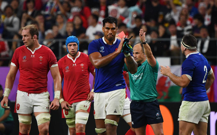 France's lock Sebastien Vahaamahina receives a red card from referee Jaco Peyper during the 2019 Rugby World Cup quarterfinal match between Wales and France at the Oita Stadium in Oita, Japan on 20 October 2019. Picture: AFP