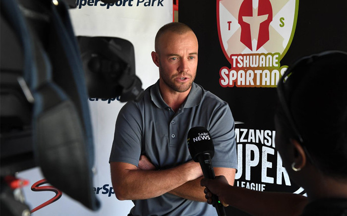 AB de Villiers speaking at the launch of the Mzansi Super League team the Tshwane Spartans. Picture: @SpartansMSLT20/Twitter