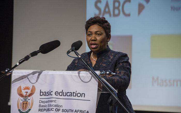 FILE: Minister of Basic Education Angie Motshekga announces the 2017 matric results on 4 January 2018. Picture: Ihsaan Haffejee/EWN