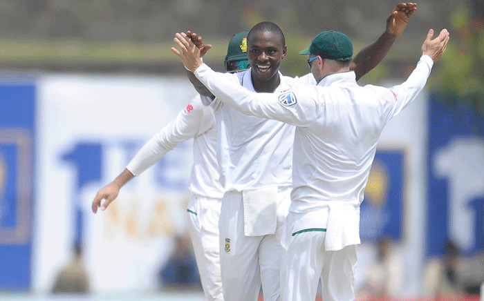 The Proteas celebrate a win on day one of the first Test against Sri Lanka on 12 July 2018. Picture: @OfficialCSA/Twitter.