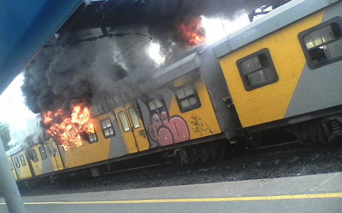 A train on fire at Retreat station in Cape Town on 26 July 2018. Picture: Supplied