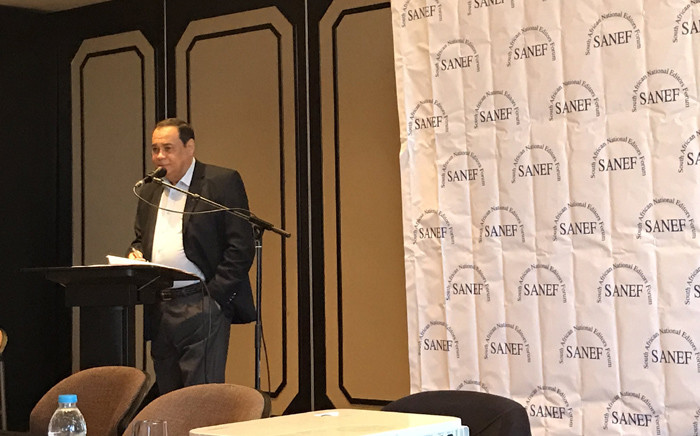 KwaZulu-Natal Judge President Achmat Japie talks at length about active citizenship in South Africa during the annual general meeting. Picture: Twitter/@SAEditorsForum.