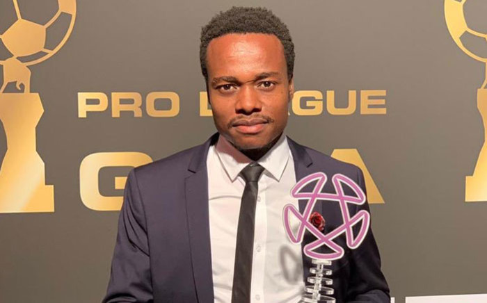 FILE: South African footballer Percy Tau with his Belgian second division Player of the Season Award. Picture: @percymuzitau22/Twitter