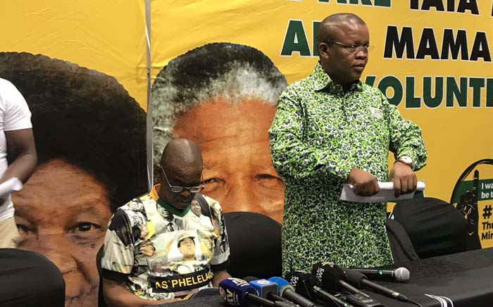 ANC secretary-general Ace Magashule (L) and acting national spokesperson Dakota Legoete on 11 January 2019 briefed the media ahead of the party's 107th anniversary celebrations at the Moses Mabhida stadium in Durban. Picture: Ziyanda Ngcobo/EWN