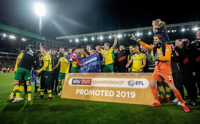 Norwich City celebrate promotion back into the English Premier League. Picture: @NorwichCityFootballClub/Twitter