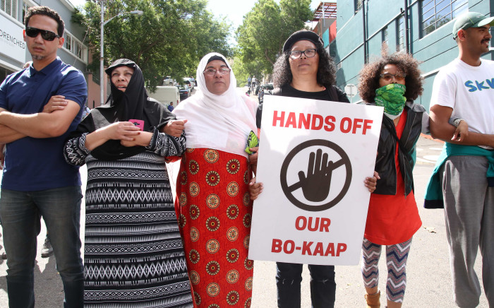 FILE: Bo-Kaap residents stand side by side as the protest to stop a crane from entering the area. Picture: Bertram Malgas/EWN