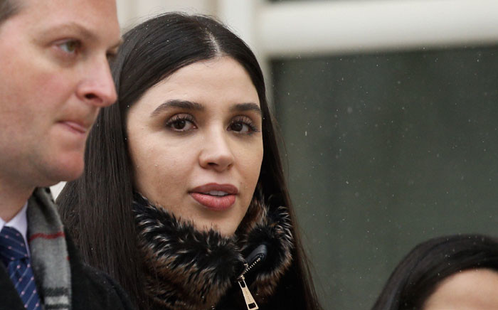 In this file photo taken on 12 February 2019 Emma Coronel Aispuro,(C) wife of Joaquin 'El Chapo' Guzman leaves from the US Federal Courthouse after a verdict was announced at the trial for Joaquin 'El Chapo' Guzman in Brooklyn, New York. Picture: AFP