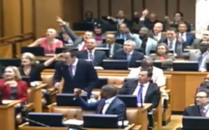 A screengrab of the parliamentary chaos which erupted on 13 November 2014. Picture: EWN.