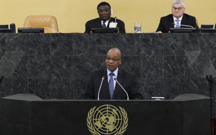SA President Jacob Zuma addresses the 68th United Nations General Assembly at UN headquarters in New York on 24 September 2013. Picture: AFP