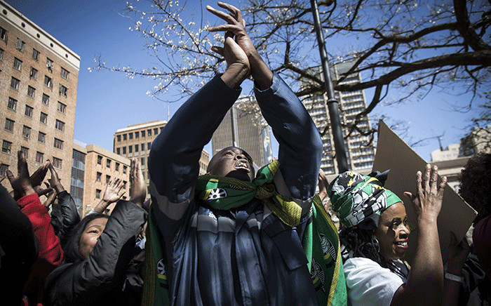 ANC Mpumalanga province members gathered at Bayer's Naude Square to marched to Luthuli House in Johannesburg, calling on the NWC to dissolve the current provincial leadership. Picture: Sethembiso Zulu/EWN.