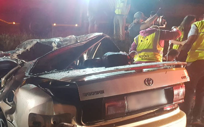 Emergency workers were on scene after three people were killed and two others seriously injured in a car crash in Gauteng. Picture: ER24