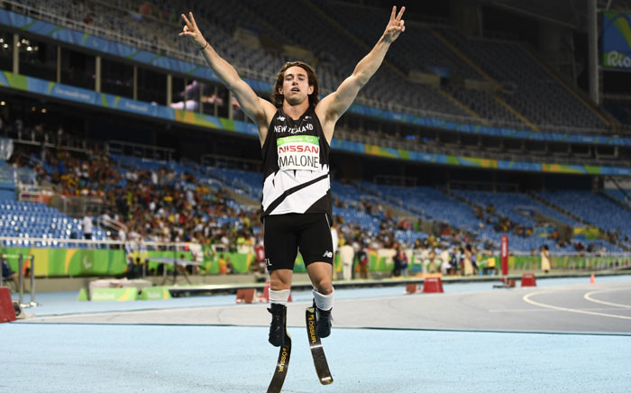 New Zealand's Liam Malone celebrates after winning the men's 200m race at the Olympic Stadium during the Paralympic Games in Rio de Janeiro, Brazil on 12 September 2016. Picture: AFP.