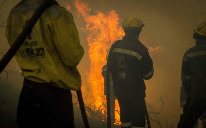 Firefighters seen near homes in Buffalo Bay, Knysna, after a wildfire broke out. Pictures: Thomas Holder/EWN