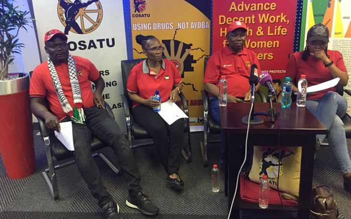 Cosatu national leaders briefed the media on 28 November 2019 on the outcomes of their central executive committee meeting. (From R-L) Cosatu president Zingiswa Losi, secretary-general Bheki Ntshalintshali, second deputy-president Louise Thipe, and first deputy-president Mike Shingange. Picture: Twitter/@_cosatu