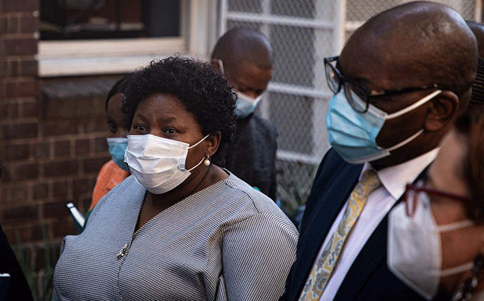 Gauteng Premier David Makhura went on a walkabout at the Wits RHI in Hillbrow, Johannesburg, on 20 April 2021. He was joined by Gauteng health MEC Nomathemba Mokgethi. Picture: Xanderleigh Dookey/Eyewitness News.