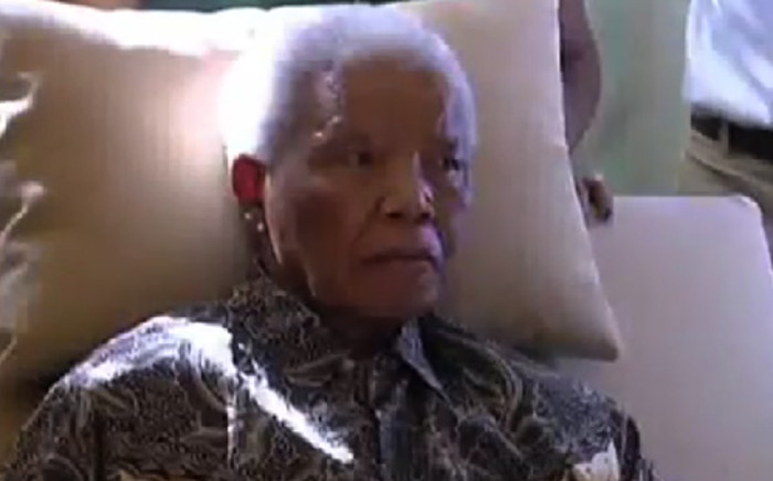 Former President Nelson Mandela made his first television appearance in almost a year, looking thin and frail in his Johannesburg home. Picture: Supplied