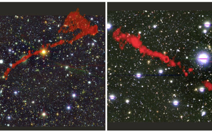 Two of the giant radio galaxies discovered by the MeerKat radio telescope. Picture: I.Heywood (Oxford/Rhodes/SARAO)