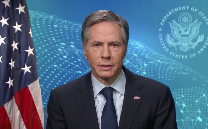 This image grab taken from the United Nations TV channel shows US Secretary of State Antony Blinken delivering a speech via video message during the 46th Regular Session of Human Rights Council on 24 February 2021 in Geneva.  Picture: AFP