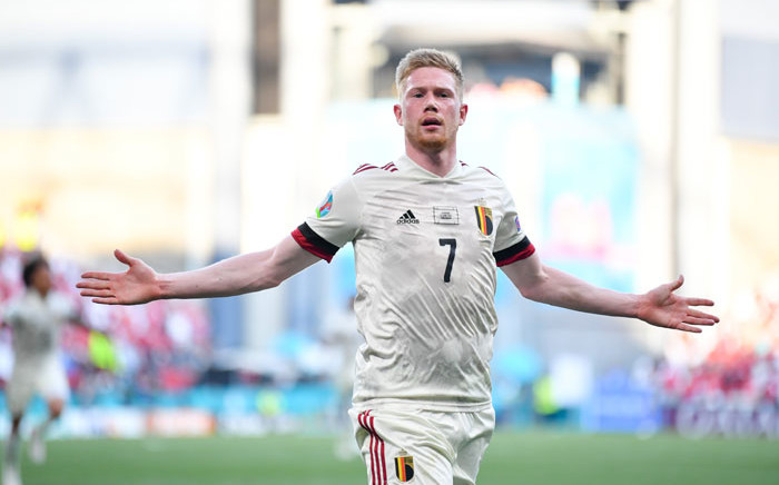 Belgium's Kevin De Bruyne celebrates his goal against Denmark in their Uefa Euro 2020 match on 17 June 2021. Picture: @EURO2020/Twitter