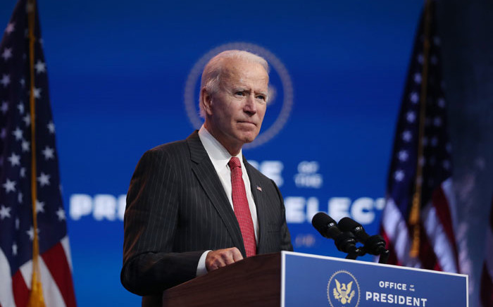 US President-elect Joe Biden speaks as he addresses the media after a virtual meeting with the National Governors Association's executive committee at the Queen Theater on 19 November 2020 in Wilmington, Delaware. Picture: AFP