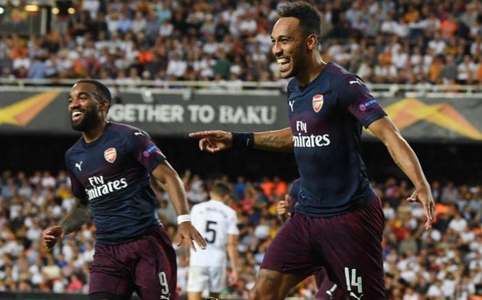 Arsenal's Pierre-Emerick Aubameyang and Alexandre Lacazette celebrate a goal in their UEFA Europa League semifinal second leg match against Valencia on 9 May 2019. Picture: @Arsenal/Twitter