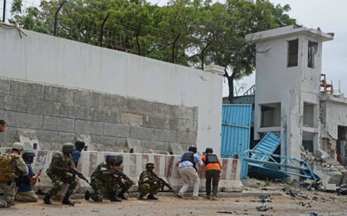 Mogadishu UN compound following an attack by al-Shabaab, who posted the image on Twitter.