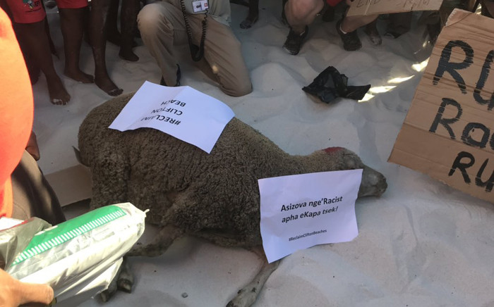 Activists from lobby group Black People's National Crisis Committee brought a sheep to slaughter on the beach for a cleansing ceremony. Lauren Isaacs/EWN.
