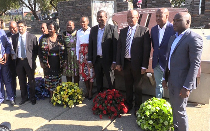 Minister in the Presidency Jeff Radebe leads a government delegation during a wreath laying ceremony at the Hector Petersen Memorial in Soweto. Picture: Vumani Mkhize/EWN.