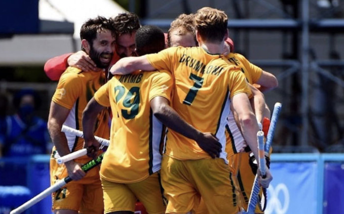 The South African men's hockey team celebrate their first win at the 2020 Tokyo Olympic Games after edging out Germany 4-3 on 29 July 2021. Picture: @TeamSA2020/Twitter